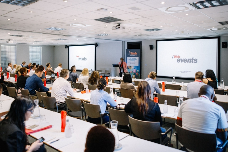 Conference room during speaker presentation