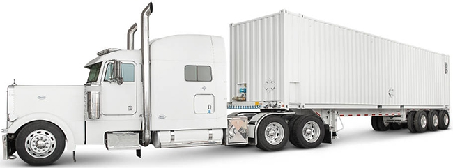 The AWS Snowmobile can hold up to 100PB of data in its 45-foot shipping container pulled by a semi-trailer truck.