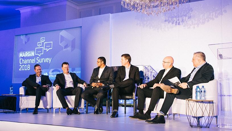 Brad Pulford, Dell EMC; Craig Brunsden, Axiz; Shaheen Vawda, BCX; Malcolm Stewart, First Distribution; Nick Keene, Microsoft; Aki Anasatasiou.